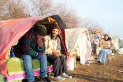 Dakloze mensen die onder de sneeuw leven Stock Foto