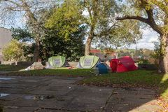 Dakloze tenten Stock Fotografie