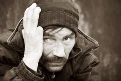 Daklozen in depressie. Royalty-vrije Stock Fotografie