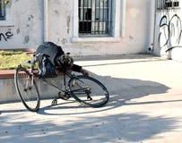 Daklozen met zijn fiets Royalty-vrije Stock Fotografie