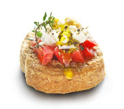 Dakos with feta cheese and tomato Royalty Free Stock Photo
