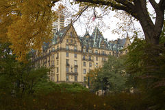 Dakota Apartments. View of the Dakota Apartments among the Central Park trees Royalty Free Stock Photo