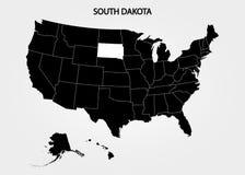 Dakota del Sur Estados del territorio de América en fondo gris Estado separado Ilustración del vector