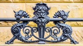 The Dakota Neptune Serpents Wrought Iron Fence Stock Photography