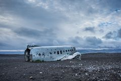 Dakota samolotu wrak na wrak plaży w Vik, Iceland Zdjęcie Royalty Free