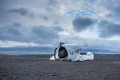 Dakota samolotu wrak na wrak plaży w Vik, Iceland Zdjęcia Stock