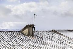 Daksneeuw in de winter Stock Afbeeldingen