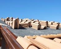 Dakspanen op dak Stock Fotografie