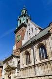 Daktorens van kathedraal op Wawel-kasteel, Krakau, Polen Stock Foto