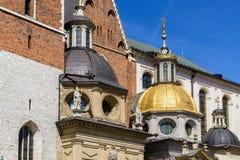 Daktorens van kathedraal op Wawel-kasteel, Krakau, Polen Royalty-vrije Stock Fotografie
