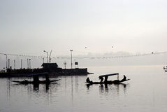 dal印度克什米尔湖shikaras斯利那加 库存照片