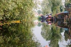 Dal湖划船,斯利那加,克什米尔 免版税库存照片