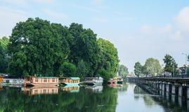 Dal湖风景在斯利那加,印度 图库摄影