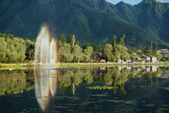 Dal湖风景在斯利那加,印度 免版税图库摄影