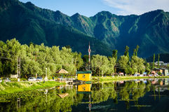Dal湖风景在斯利那加,印度 库存图片