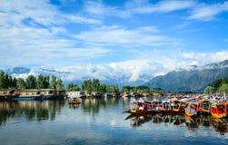 Dal湖风景在斯利那加,印度 免版税库存照片
