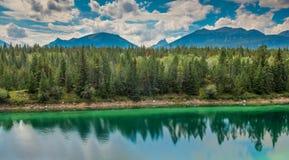 Dal av de fem sjöarna i Jasper National Park Arkivfoton