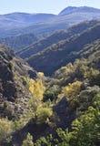 Dal av floden Genil i banan av Sierra Nevada royaltyfria bilder
