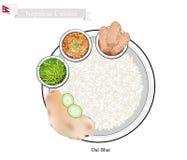 Dal Bhat eller nepalesisk ångad ris- och linssoppa vektor illustrationer