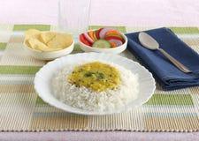 Dal en Rijst Indische Vegetarische Lunch Royalty-vrije Stock Afbeelding