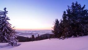 Dal för höga berg som täckas av snö lager videofilmer