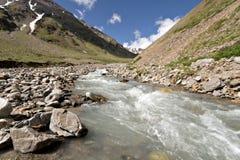 dal för ström för caucasus bergflod Royaltyfri Bild