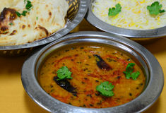 Dal fry rice and roti Royalty Free Stock Image
