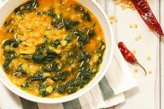 Dal Indian-de soep van de linzekerrie met spinazie stock afbeeldingen