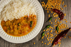 Dal Indian lentil curry soup and rice Royalty Free Stock Photography