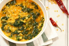 Dal Indian Lentil Curry Soup With Spinach Stock Images
