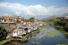 Dal Lake Channel. One of many channels on Dal Lake in Srinagar (capital of kashmir Stock Photo