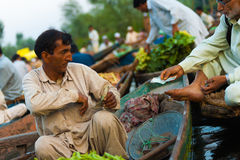 Dal Lake Floating Market Boat Paying Money Sale Stock Photos