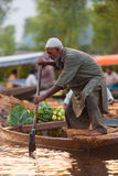 Dal Lake Floating Market Man Standing Rowing Royalty Free Stock Image