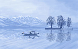 Dal Lake Kashmir stock illustration