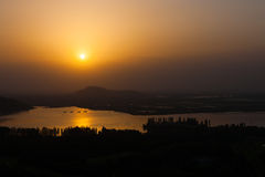Dal Lake Landscape Aerial View Srinagar Sunset Stock Photo