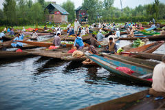 Dal Lake Morning Vegetable Market Wide Stock Image