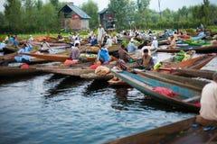 Dal Lake Morning Vegetable Market Wide stock image