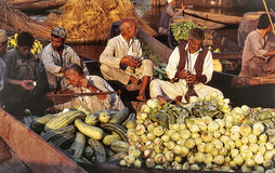 Dal Lake Morning Vegetable Market Wide Stock Photo