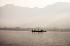 Dal Lake and Mountains in Kashmir Stock Images