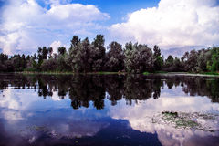 Dal Lake with reflection of clouds Stock Photography