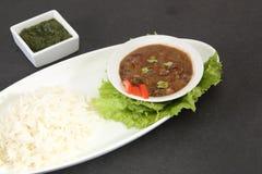 Dal Makhani eller Daal Makhani med den indiska maträtten för ris royaltyfri fotografi