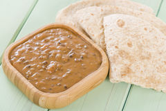 Dal Makhani. Lentil curry served with chapattis Stock Image