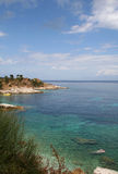 Dal mare, Corfù, Grecia. immagine stock