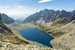Dal med dess damm i de Tatra bergen Arkivbilder