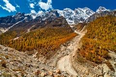 Dal- och bergsikt i Himalaya Arkivfoto