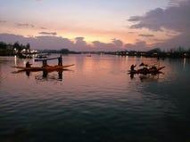Dal See Srinagar Indien am Abend lizenzfreies stockbild