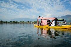 Dal sjö på Srinagar, Kashmir, Indien Arkivbilder
