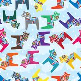 Dala horse colorful drop sky seamless pattern. This illustration is Dala horse abstract crying like a rain drop blessing in cloud sky background seamless pattern Stock Image