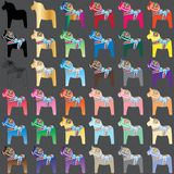 Dala horse colorful set Stock Images