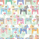Dala horse pastel symmetry seamless pattern Stock Photography